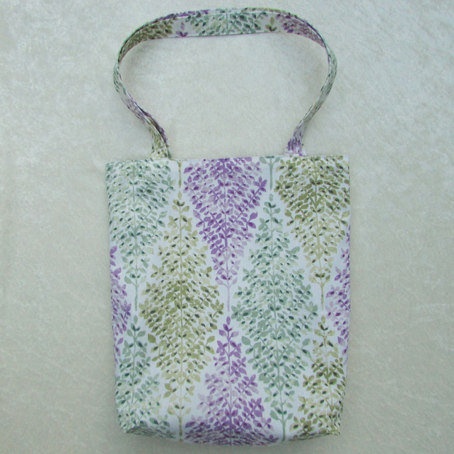 Tote bag - white fabric with mauve, sage green and blue-green trees pattern