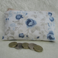 Large purse, coin purse - cream with blue roses