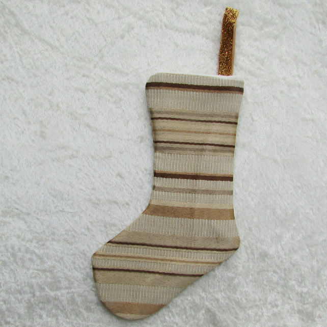 Gold striped small Christmas stocking tree decoration