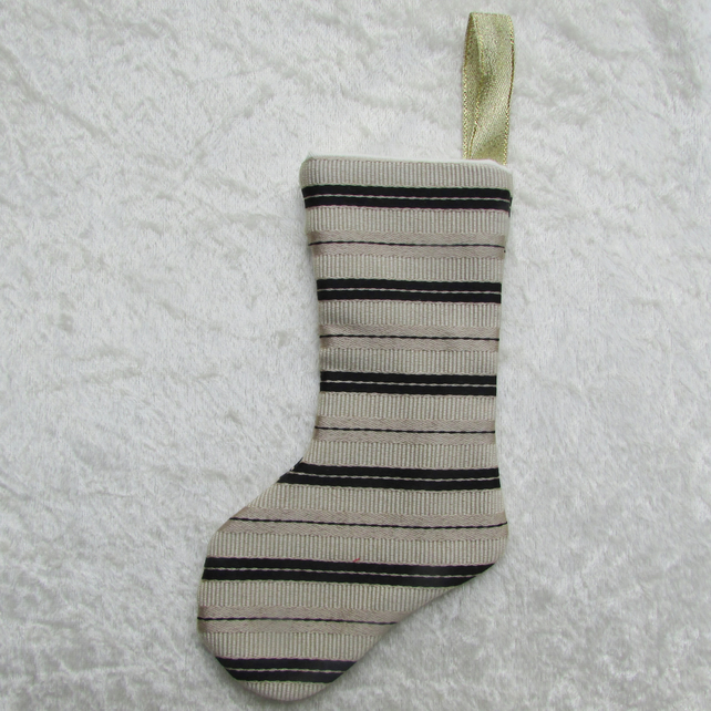 SALE - Gold and black striped small Christmas stocking tree decoration