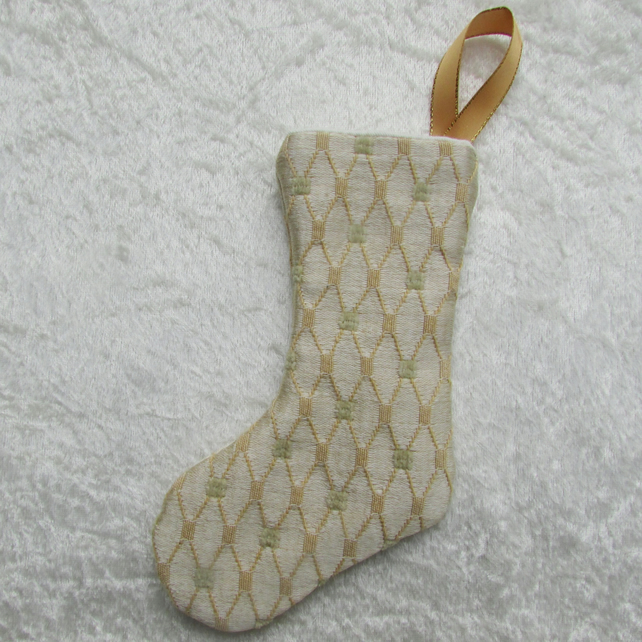 SALE - Gold diamond pattern small Christmas stocking tree decoration