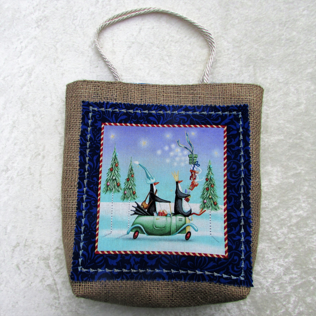 SALE - Christmas gift bag in hessian with fabric panel - penguins in a car