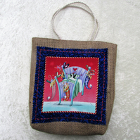 Christmas gift bag in hessian with fabric panel - penguin in bed