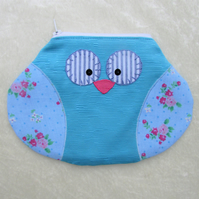 Owl pouch, owl purse, owl cosmetic bag - turquoise, blue and pink