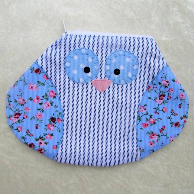 Owl pouch, owl purse, owl cosmetic bag - white, blue and pink