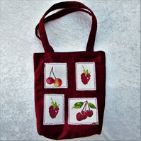 SALE - Red summer fruits tote bag