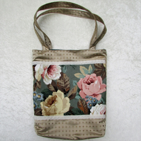 SALE - Gold satin tote bag with floral panel