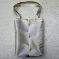 Tote bag - Ivory satin with blue and green leaf pattern