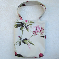 Floral tote bag - cream, pink and green