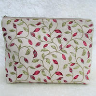 Cream toiletry bag, wash bag with red and green leaf pattern