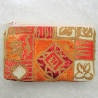 Large purse, coin purse - terracotta abstract print