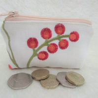 Small purse, coin purse - cream embroidered fabric with orange flowers