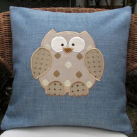 Owl cushion - Blue with gold applique owl