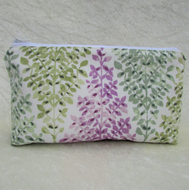 Cosmetic bag, make up bag - White with mauve, sage green and blue-green trees