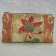 Cosmetic bag, make up bag - sandy beige and terracotta with red and green flower