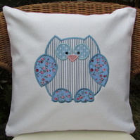 Pastel shabby chic owl cushion