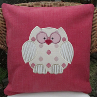 Owl cushion in coral pink with gold applique owl