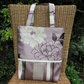 Tote bag - Lilac and plum flowers and stripes