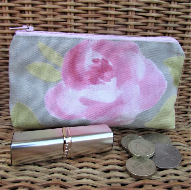 Large purse, coin purse - Pale grey with pink Rose