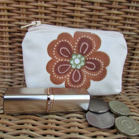 Small purse, coin purse - cream with terracotta and green flower