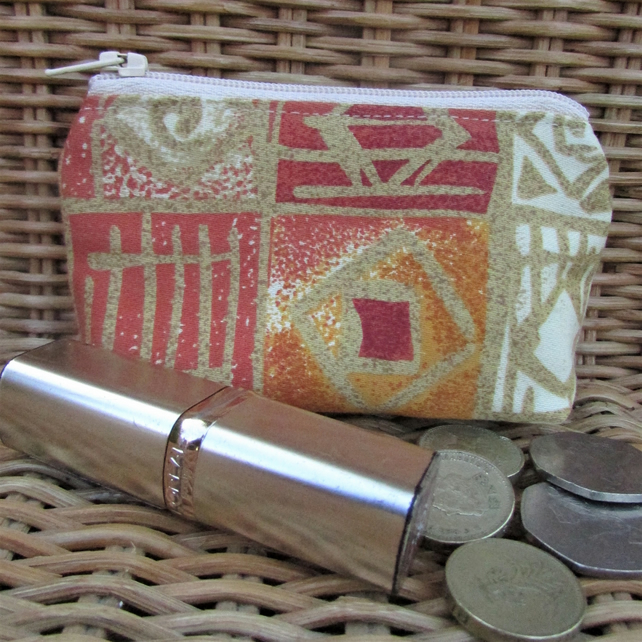 Small purse, coin purse - terracotta abstract print