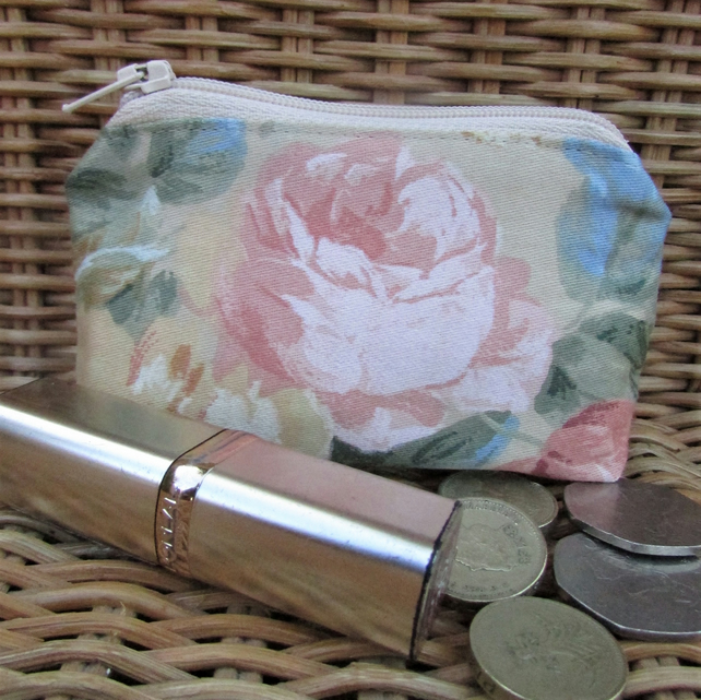 Small purse, coin purse - beige with pink Rose
