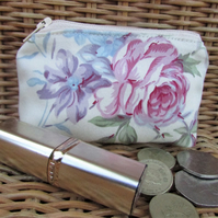 Small purse, coin purse - cream with pink, purple and blue flowers