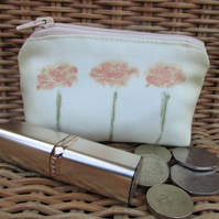 Small purse, coin purse - pale yellow with three orange flowers