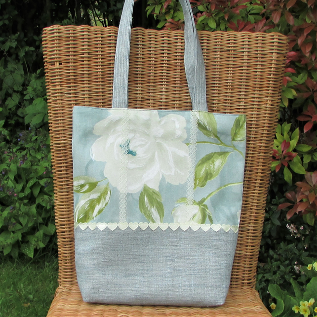 Tote bag in duck egg blue and floral fabrics with cream trim