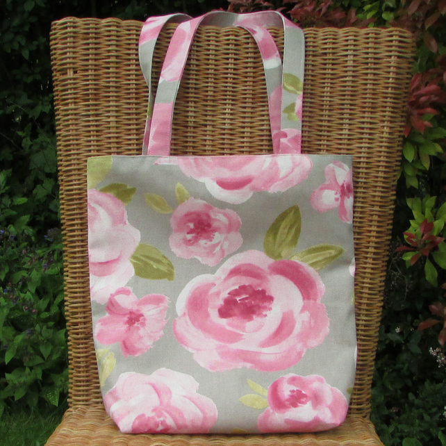 Tote bag - grey with pink roses