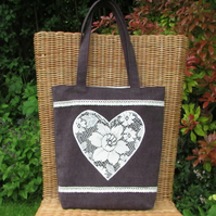 Plum tote bag with cream lace applique heart