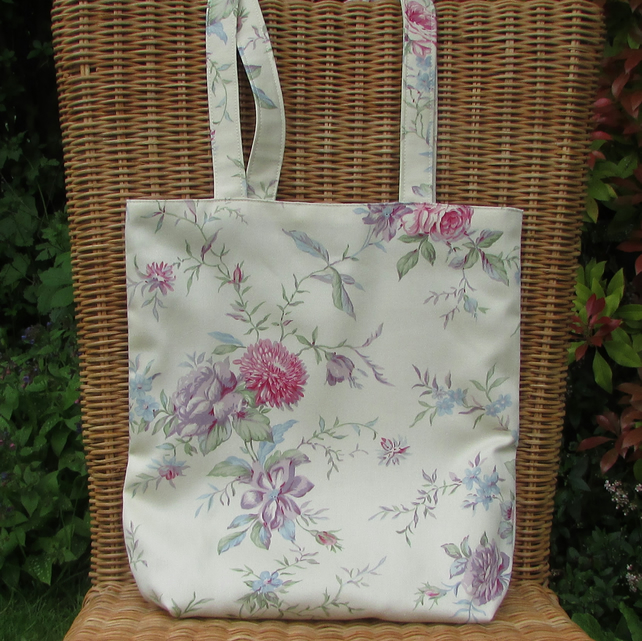 Floral tote bag - cream, pink and lilac