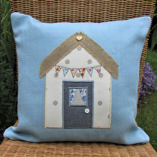 Beach hut cushion - Blue with cream and beige polka dot beach hut