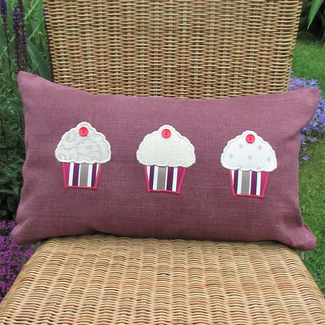 SALE - Cupcakes cushion - plum rectangular cushion with applique cupcakes