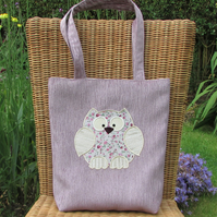 Owl tote bag - Lilac with cream and pink floral applique owl
