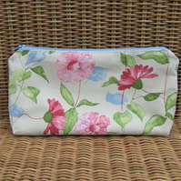 Cosmetic bag, make up bag in cream with pastel pink, green and blue floral print