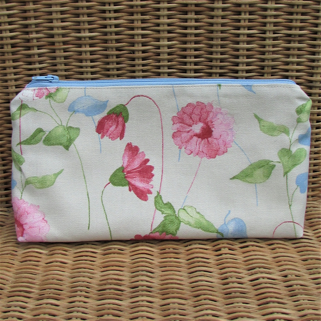 Cosmetic bag, make up bag - cream with pastel pink, blue and green floral print