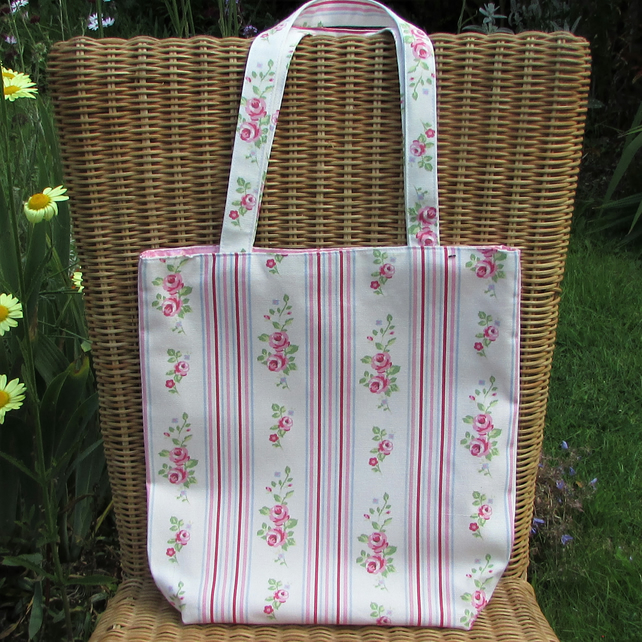 SALE. Tote bag  with pink Roses and stripes