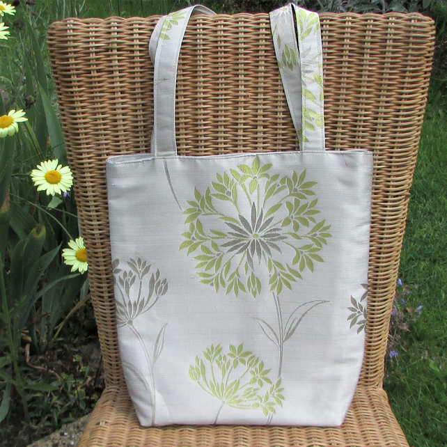 Floral tote bag - pale gold, lime green and silver