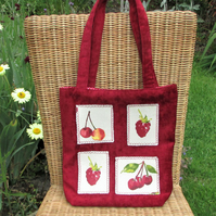 SALE, Red summer fruits tote bag