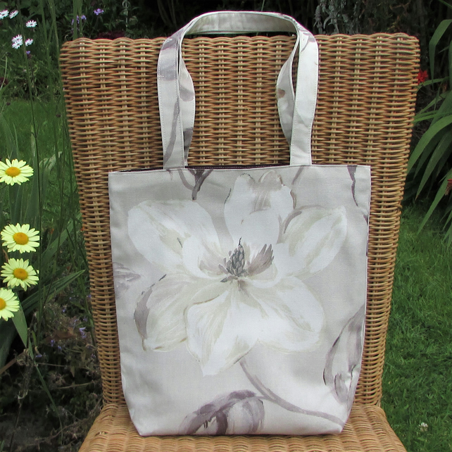 Floral tote bag - pastel lilac and cream