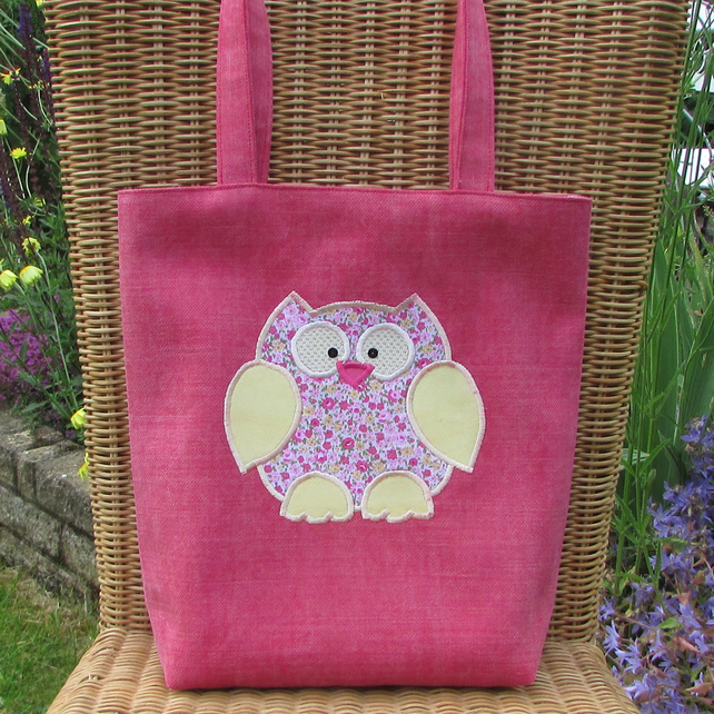 Owl tote bag - Dark pink with pink and yellow floral owl