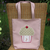 Cupcake tote bag - pale pink with gold, pink and red cupcake