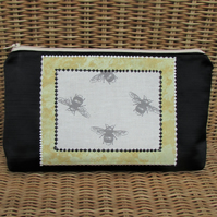 Large cosmetic bag, make up bag - black with bees print panel