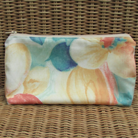 Cosmetic bag, make up bag - Large flowers in orange and turquoise