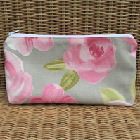 Cosmetic bag, make up bag - Pale grey with pink Roses