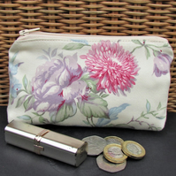 Large purse, coin purse in cream with pink and purple flowers