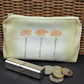 Large purse, coin purse - Pale yellow with three orange flowers