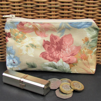 Large purse, coin purse - Beige with floral print