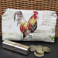 Large purse, coin purse - pale cream with cockerel